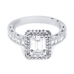 HT2517EC75X55 Tacori Crescent Platinum Engagement Ring