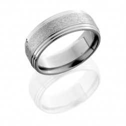 Lashbrook 8F2S STONE-POLISH Titanium Wedding Ring or Band