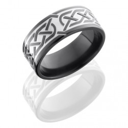 Lashbrook Z9F-Celtic5 Bead-Polish Zirconium Wedding Ring or Band