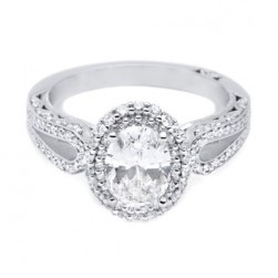 HT2518OV8X6 Tacori Crescent Platinum Engagement Ring