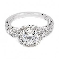 HT2516CU65 Tacori Crescent Platinum Engagement Ring