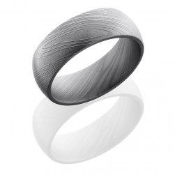 Lashbrook D8D Bead Damascus Steel Wedding Ring or Band