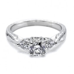 Tacori Platinum Hand Engraved Engagement Ring HT2206