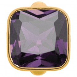 Endless Jewelry Big Amethyst Cube Gold Plated Charm 51302-1