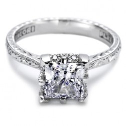 Tacori Hand Engraved Platinum Engagement Ring 2504PRE65