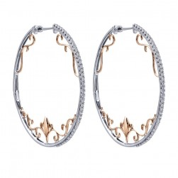 Gabriel Fashion 14 Karat Two-Tone Hoops Fancy Earrings EG12515T45JJ