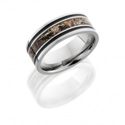 Lashbrook 8F1321A/DUCKBLIND POLISH Titanium Wedding Ring or Band