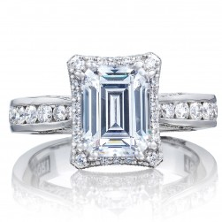 2646-35EC85X65 Platinum Tacori Dantela Engagement Ring