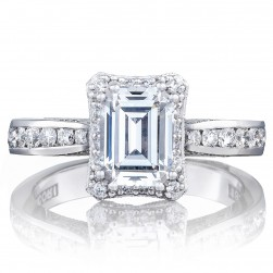 2646-3EC75X55 Platinum Tacori Dantela Engagement Ring
