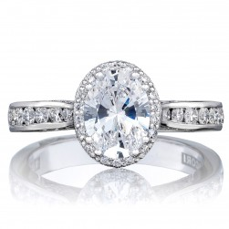 2646-3OV8X6 Platinum Tacori Dantela Engagement Ring
