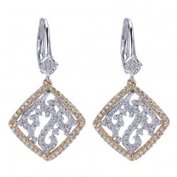 Gabriel Fashion 14 Karat Two-Tone Lusso Diamond Drop Earrings EG11989T44JJ