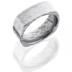 Lashbrook D8FSQZEBRA Polish Damascus Steel Wedding Ring or Band