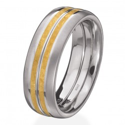 Kretchmer Polarium/24K Gold 2-Gether Kissing Bands