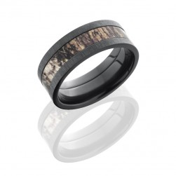 Lashbrook ZCAMO8F14-MOSSYOAK CROSS SATIN BLACK Camo Wedding Ring or Band