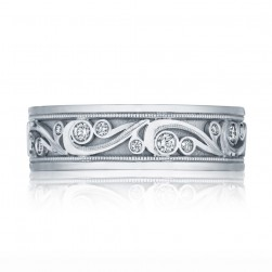 127-7D Platinum Tacori Diamond Wedding Ring