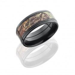 Lashbrook ZCAMO9FGE15-MOSSYOAK CROSS SATIN BLACK-POLISH Camo Wedding Ring or Band
