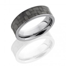 Lashbrook C7F16-CF Polish Titanium Carbon Fiber Wedding Ring or Band