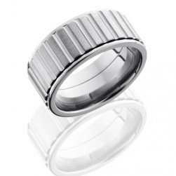 Lashbrook 10FStraightGearspinner Satin-Polish Titanium Wedding Ring or Band