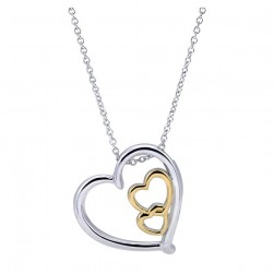 Gabriel Fashion Silver / 18 Karat Two-Tone Eternal Love Heart Necklace NK2763MYJJJ