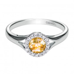 Gabriel Fashion 14 Karat Color Solitaire Ladies' Ring LR6053W45CT