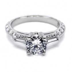 Tacori Hand Engraved Platinum Engagement Ring HT2350