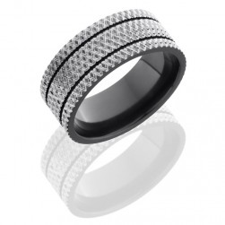 Lashbrook Z9F-2.5KNURL Polish Zirconium Wedding Ring or Band