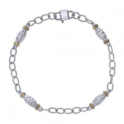 Gabriel Fashion Silver / 18 Karat Two-Tone Roaring 20's Diamond By The Yard Bracelet TB2612MYJJJ