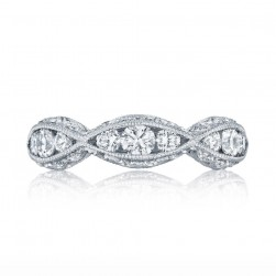 2644B12 Platinum Tacori Classic Crescent Diamond Wedding Ring