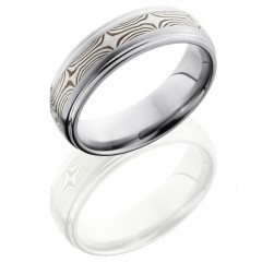 Lashbrook 7DGE13-MSSSH Satin-Polish Titanium Mokume Gane Wedding Ring or Band