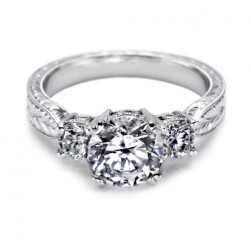 Tacori Platinum Hand Engraved Engagement Ring 10943