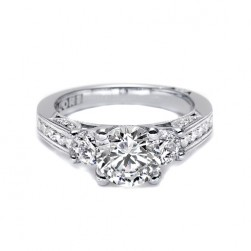 Tacori 18 Karat Three-Stone Diamond Engagement Ring 2636RD55
