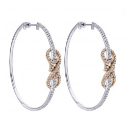 Gabriel Fashion 14 Karat Two-Tone Hoops Classic Earrings EG12590T45JJ