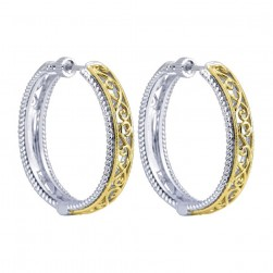 Gabriel Fashion Silver / 18 Karat Two-Tone Hoops Hoop Earrings EG10906MYJJJ