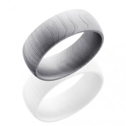 Lashbrook D8DTIGER Bead Damascus Steel Wedding Ring or Band