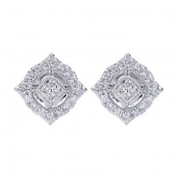 Gabriel Fashion 14 Karat Lusso Diamond Stud Earrings EG12308W45JJ