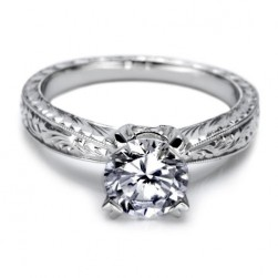 Tacori 18 Karat Hand Engraved Solitaire Engagement Ring 10937
