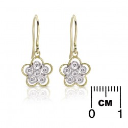 Gabriel Fashion 14 Karat Two-Tone Floral Drop Earrings EG10539M45JJ