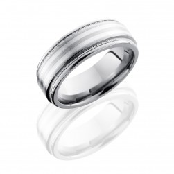 Lashbrook 8REF21-SS2UMIL Satin-Polish Titanium Wedding Ring or Band