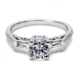 Tacori Platinum Hand Engraved Engagement Ring HT2201