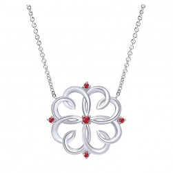Gabriel Fashion Silver Blossoming Heart Necklace NK3975SVJRB
