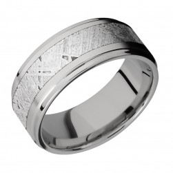 Lashbrook 9FGE15/METEORITE Titanium Wedding Ring or Band
