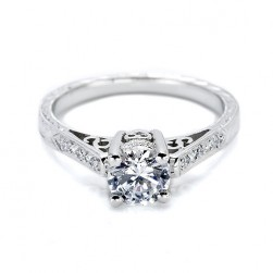 Tacori 18 Karat Hand Engraved Engagement Ring HT2202