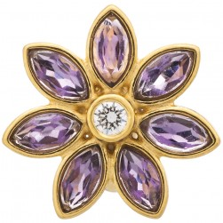 Endless Jewelry Big Amethyst Flower Gold Plated Charm 51502-1