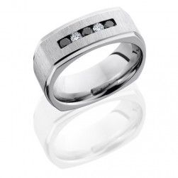 Lashbrook CC8FGESQBLKDIA3X.05DIA2X.05CH Cross Satin-Polish Cobalt Chrome Wedding Ring or Band