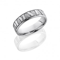 Lashbrook 14KW6D/LCVROMANNUMERAL2 SANDBLAST-POLISH Precious Metal Wedding Ring or Band