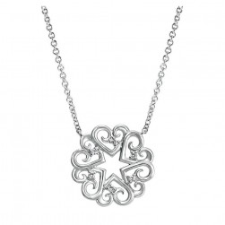 Gabriel Fashion Silver Blossoming Heart Necklace NK4008SV5JJ