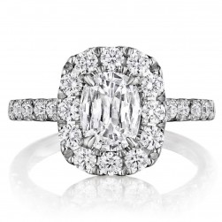 Henri Daussi ADU Cushion Halo Diamond Engagement Ring