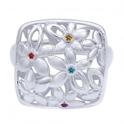 Gabriel Fashion Silver Floral Ladies' Ring LR50204SVJMC