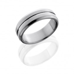 Lashbrook 7B11(NS) CROSS BRUSH-POLISH Titanium Wedding Ring or Band