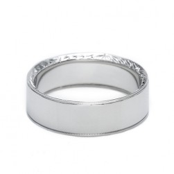 Tacori Platinum Hand Engraved Wedding Band 2557